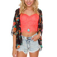 Betsy Lace Bustier - Neon Coral