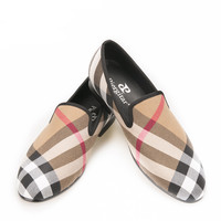 Handcraft Men Plaid  British loafers