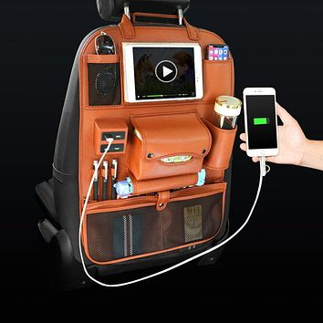Multi-functional Leather Car Seat Back Storage with USB Charging Port