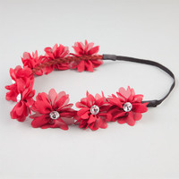 Full Tilt Chiffon Flower Headband Burgundy One Size For Women 21998732001