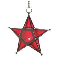 Red Glass Star Lantern Hanging Candle Holder