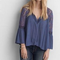 Blue Lace Sleeve Flowy Tunic