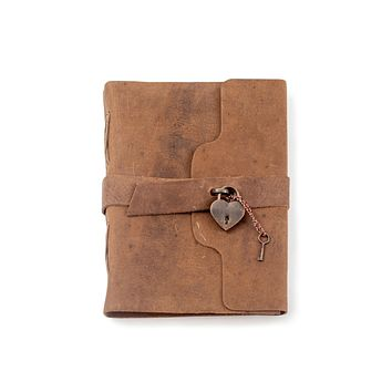 """Leather Journal with Heart Lock and key - 6""""x8"""""""