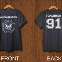one direction shirt 2 side print digital front side and back side louis tomlinson 1D tshirt  black white colors clothing