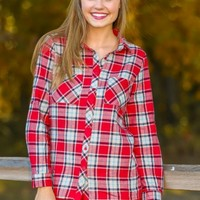 Fireside Beauty Plaid Blouse-Red/Ivory