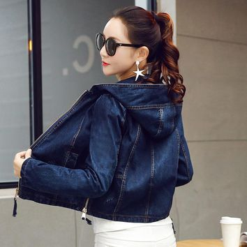 Denim Jacket Women Jeans Basic Jacket Coat Hooded Outwear Slim Short Warm Overcoats Jeans Denim Female Coats & Jackets ZY2984