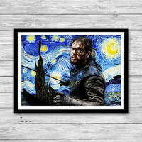 Jon Snow Print, Starry Night Print, Reproduction of Van Gogh, Jon Snow The Battle of the Bastards, Game of Thrones Painted Poster