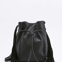 Black Leather and Suede Fringe Duffle Bag - Urban Outfitters
