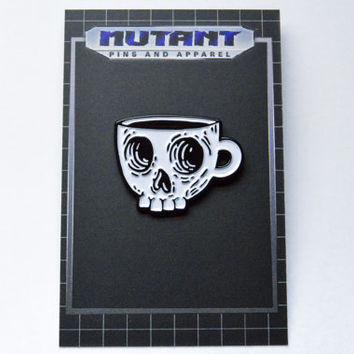Coffee Skull Enamel Pin