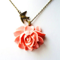 """Coral Pink Rose Necklace, Coral Flower Necklace,  Swallow Necklace, 18"""" Antique Bronze Chain  - Pin Up Burlesque Vintage Style"""