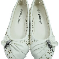 Women's Dress White Faux Leather Floral Cutout Round Toe Ballet Flats Shoes with bow