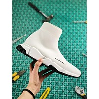 Balenciaga Stretch In White Knit Speed Trainers With White And Black Sole Sneaker