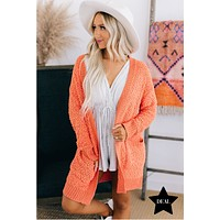 Love Me Dearly Popcorn Knit Cardigan (Orange)