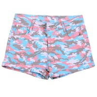 Women's Military Low Rise Multicolored Camouflage Shorts Camo Pants