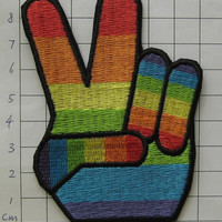 Iron-on Embroidered Patch Rainbow Victory 3.7 inch