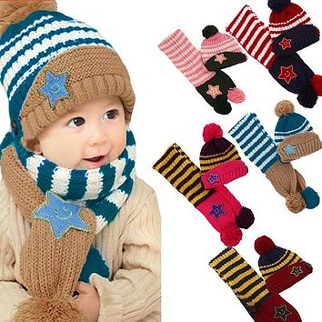 Little Kids Knitted Winter Beanie Hat and Scarf Set, 6 Month Baby to Toddlers