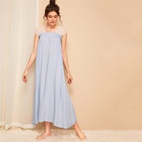 Contrast Lace Frill Trim Night Dress Casual Blue Loose Long Nightgown Sleeveless Square Neck Solid Women Sleepwear