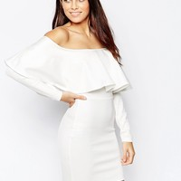 Oh My Love Bodycon Dress with Off Shoulder Ruffle at asos.com