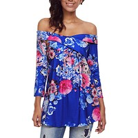 Chicloth Blue Floral Off Shoulder Crisscross Top