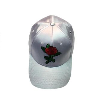 Gray Satin Snap Back Hat with Red Rose Applique