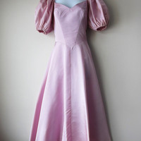 80s Prom Dress -- Pretty In Pink -- Dusty Lavender, Purple Pastel Poofy Puffy Sleeved Princess Party Dress!