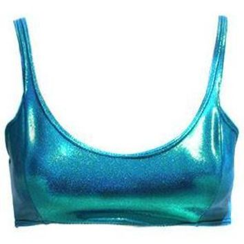 Bella Metallic Blue Swim Top
