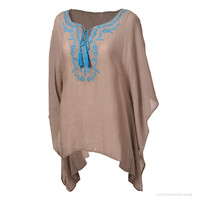 Gardenia Embroidered Poncho Top