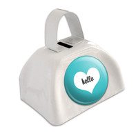Hello Heart Wedding Bridal Valentines White Cowbell Cow Bell