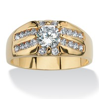 Men's 2.95 TCW Round Cubic Zirconia 14k Yellow Gold-Plated Classic Ring Sizes 14-16