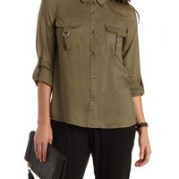 Olive Utility Button-Up Shirt by Charlotte Russe