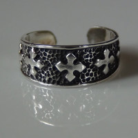 Celtic Toe Ring Band Sterling Silver 925 Square Cross Adjustable Oxidized Stacking Knuckle Beach Jewelry