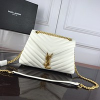 YSL SAINT LAURENT WOMEN'S LEATHER LOULOU PUFFER INCLINED CHAIN SHOULDER BAG