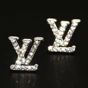 LV Louis Vuitton classic full diamond letters ladies temperament earrings accessories