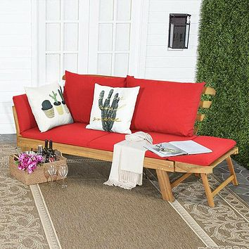 Adjustable Patio Convertible Sofa Soft Thick Cushion Stability Natural Solid Acacia Wood Frame Modern Outdoor Garden Sofas
