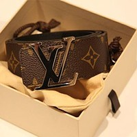 LV classic fashion brand men's and women's letter smooth buckle belt coffee