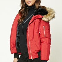 Faux Fur-Lined Hooded Jacket