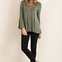 Lace-up Jersey Top - Olive