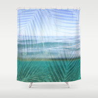 Palms over water  Shower Curtain by Sunkissed Laughter