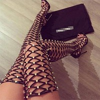 Fashion new women's hollow lace-up boots boots