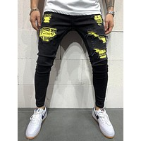 MENS STREET STYLE RIPPED JEANS BIOHARD PATCHES 4550