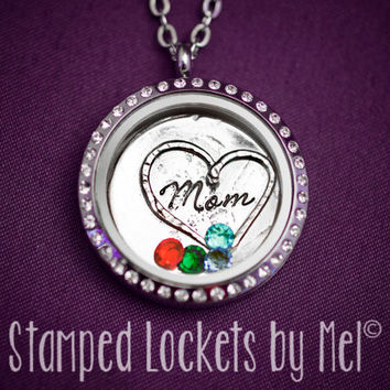 Mom - Stainless Steel Floating Memory Locket - Mommy Jewelry with Birthstones - Mother's Necklace - Personalized Momma Gift Kids Birthday