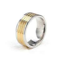 Intionix Shop Z&X® 8mm Width Two Tone Line Pattern Titanium Steel Men's Band Ring