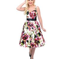 1950s Style White & Pink Floral Swing Dress