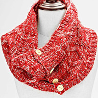 Knitted Button Infinity Scarf Red