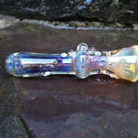 Electric Purple Blue and Amber Color Changing Glass Chillum Pipe