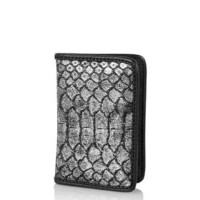 Faux Snake-Effect Oyster Card Holder - Silver