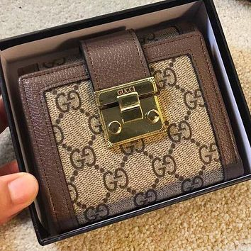 GUCCI New fashion more letter print leather wallet purse handbag