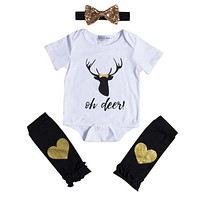 Newborn Kids Baby Boy Girl Clothes Sets Outfits Romper Tops Leg Warmers Headband 3PCS Clothing Set Baby Girls