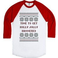 Time To Get Holly Jolly Hammered Ugly Christmas Sweater T