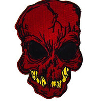Red Skull with Yellow Teeth Patch Iron On Applique